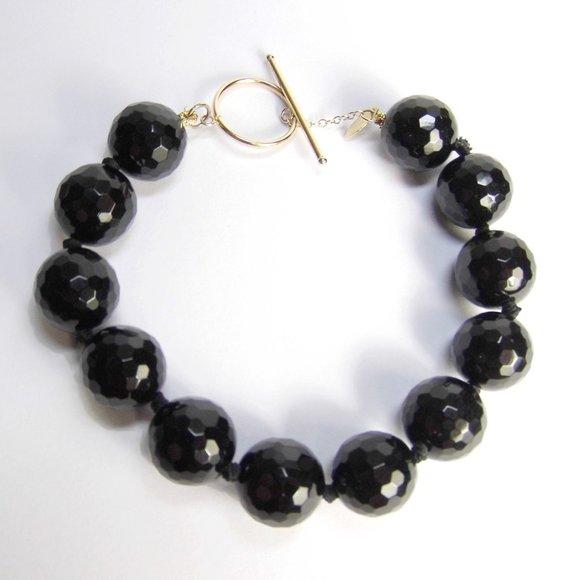 13.87 CTW Black ONYX 10KY GOLD Briolette Bracelet